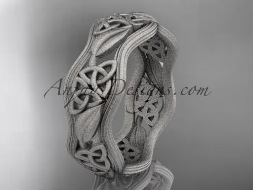 platinum celtic trinity knot wedding band, matte finish wedding band, engagement ring CT7504G