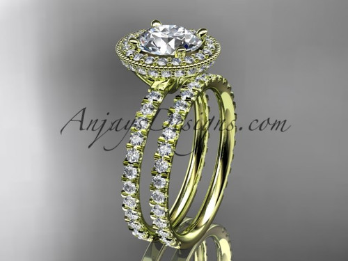 """14kt yellow gold diamond unique wedding ring, engagement set with a """"Forever One"""" Moissanite center stone ADER106S"""