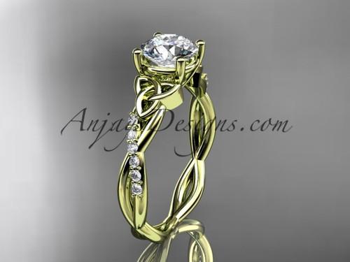 14kt yellow gold diamond celtic trinity knot wedding ring, engagement ring CT7388