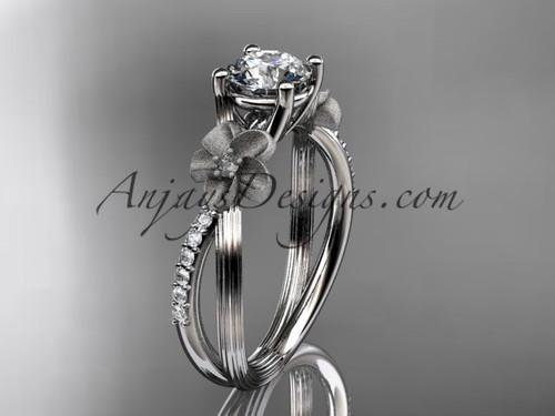 Platinum diamond leaf and vine wedding ring, engagement ring ADLR214