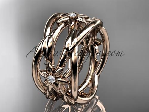 14kt rose gold leaf and vine, flower wedding ring,wedding band ADLR352B