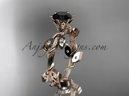 14kt rose gold diamond leaf and vine wedding ring,engagement ring with a Black Diamond center stone ADLR20