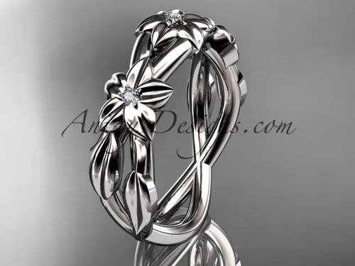 14kt white gold diamond leaf wedding ring, engagement ring, wedding band ADLR204B