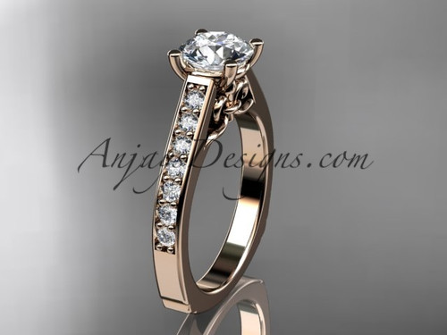 "14kt rose gold diamond unique engagement ring, wedding ring with a ""Forever One"" Moissanite center stone ADER114"