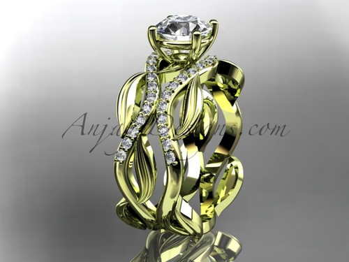 """14kt yellow gold diamond leaf and vine wedding set, engagement set with a """"Forever One"""" Moissanite center stone ADLR264S"""