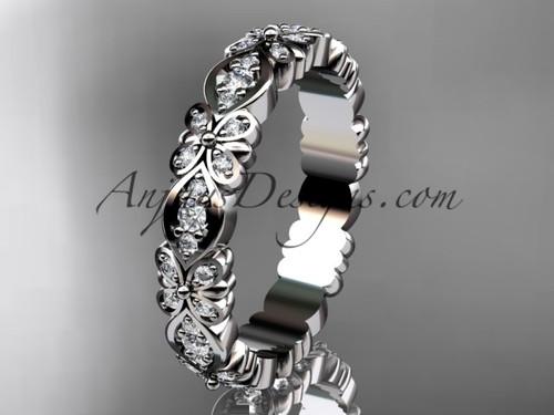 White Gold Floral Diamond Engagement Ring, Wedding Band ADLR122B