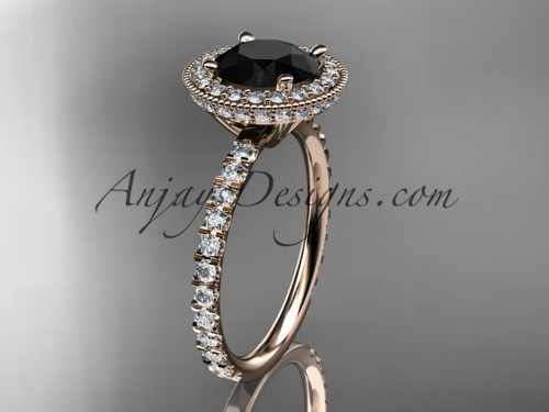 14kt rose gold diamond unique engagement ring, wedding ring with a Black Diamond center stone ADER106
