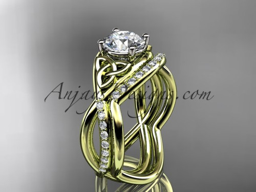 """14kt yellow gold celtic trinity knot engagement set, wedding ring with a """"Forever One"""" Moissanite center stone CT790S"""