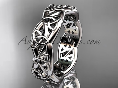 Celtic Wedding Bands for Women, Platinum Bridal Ring CT7392G