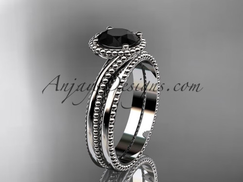 platinum  wedding ring, engagement set with a Black Diamond center stone ADLR389S