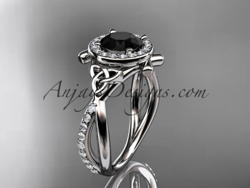 14kt white gold celtic trinity knot engagement ring, wedding ring with a Black Diamond center stone CT789