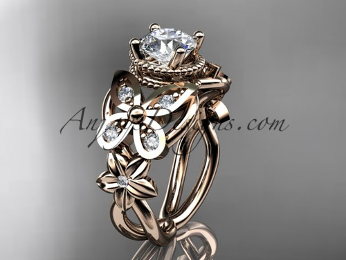 Butterfly Wedding rings Rose Gold Diamond Flower Engagement Ring ADLR136