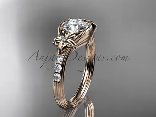 "Unique 14k rose gold diamond leaf and vine, floral diamond engagement ring with a ""Forever One"" Moissanite center stone ADLR333"