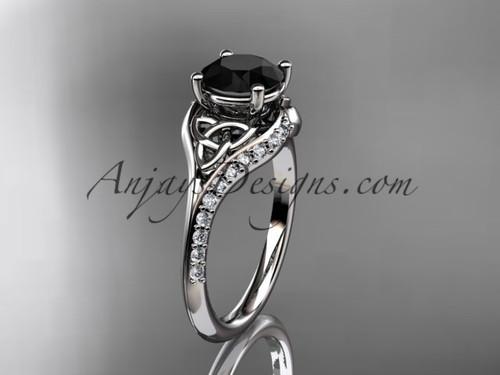 platinum diamond celtic trinity knot wedding ring, engagement ring with a Black Diamond center stone CT7125