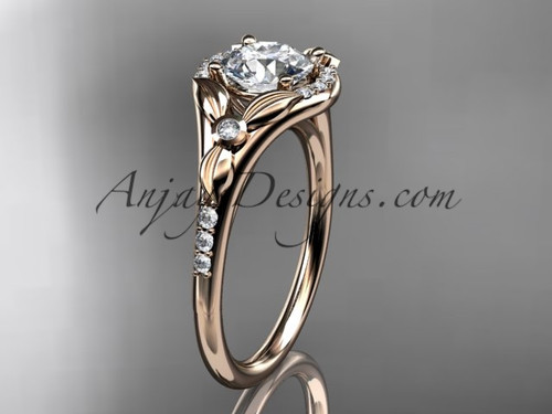 "14kt rose gold diamond floral wedding ring, engagement ring with a ""Forever One"" Moissanite center stone ADLR126"