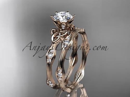 14kt rose gold diamond celtic trinity knot wedding ring, engagement set CT7132S