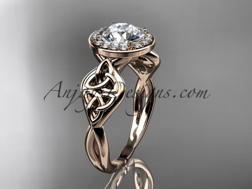 Celtic Engagement Ring, Rose Gold Halo Diamond Ring  CT7219
