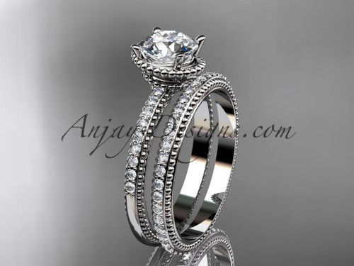 "platinum  diamond unique engagement set, wedding ring with  ""Forever One"" Moissanite  center stone  ADER86S"