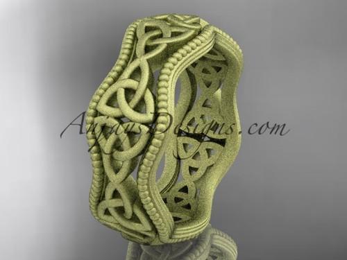 14kt yellow gold celtic trinity knot matte finish engagement ring, wedding band CT750B