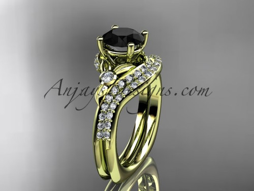 14kt yellow gold diamond leaf and vine engagement ring set with a Black Diamond center stone ADLR112S