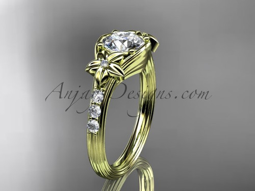 """Unique 14k yellow gold diamond leaf and vine, floral diamond engagement ring with a """"Forever One"""" Moissanite center stone ADLR333"""