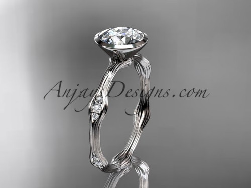 "14k white gold diamond vine wedding ring, engagement ring with  ""Forever One"" Moissanite center stone ADLR21A"