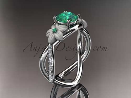 14kt white gold diamond leaf and vine birthstone ring ADLR90 Emerald - May\'s Birthstone. nature inspired jewelry