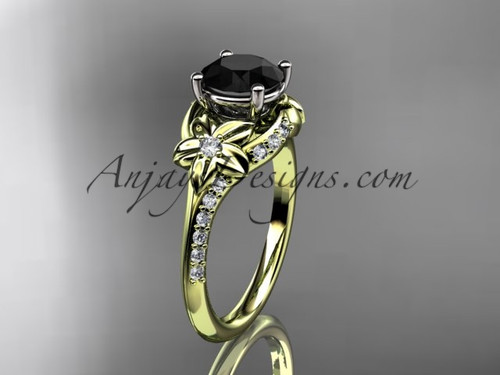 14kt yellow gold diamond floral wedding ring, engagement ring with a Black Diamond center stone ADLR125