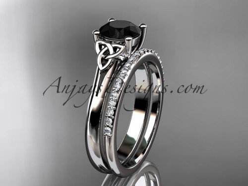 14kt white gold diamond celtic trinity knot wedding ring, engagement set with a Black Diamond center stone CT7154S