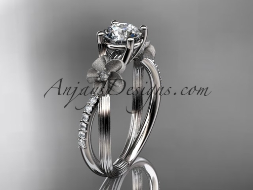 14kt white gold diamond leaf and vine wedding ring, engagement ring ADLR214