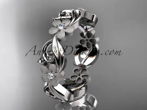 14kt white gold diamond flower wedding ring, engagement ring, wedding band ADLR191B