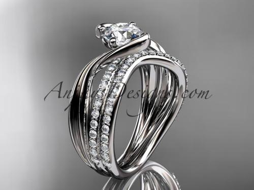 14kt white gold diamond leaf and vine wedding ring, engagement set ADLR78S