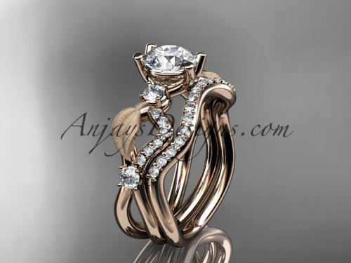 "14kt rose gold diamond leaf and vine wedding ring, engagement set with ""Forever One"" Moissanite center stone ADLR68S"