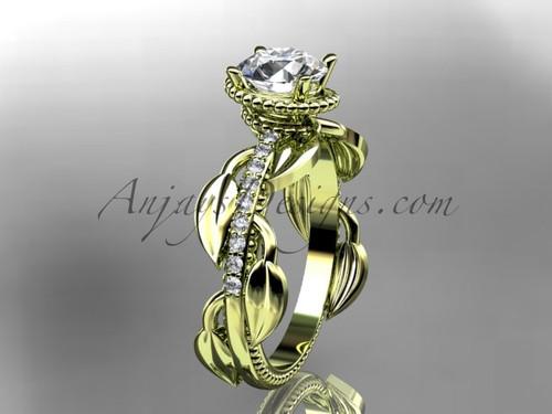 Unique 14k yellow gold diamond leaf and vine diamond engagement ring ADLR231