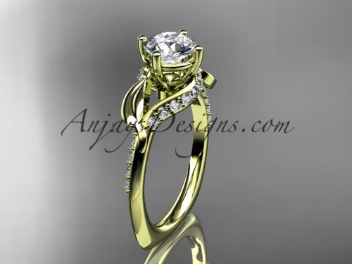 Unique 14k yellow gold diamond  leaf and vine wedding ring, engagement ring ADLR225