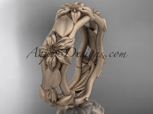 14kt rose gold leaf and vine, floral wedding band ADLR105B