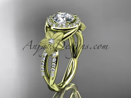 "14kt yellow gold diamond floral wedding ring, engagement ring with a ""Forever One"" Moissanite center stone ADLR127"