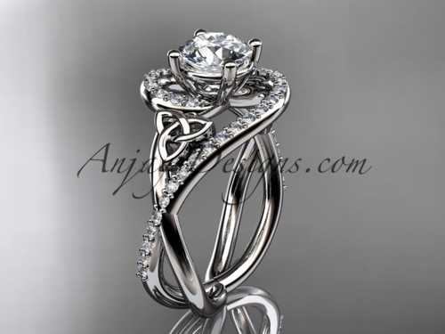 """14kt white gold diamond celtic trinity knot wedding ring, engagement ring with a """"Forever One"""" Moissanite center stone CT7320"""
