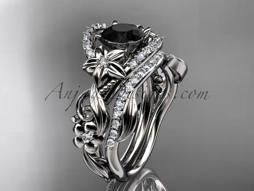 14kt white gold diamond unique flower, leaf and vine engagement set with a Black Diamond center stone ADLR211S