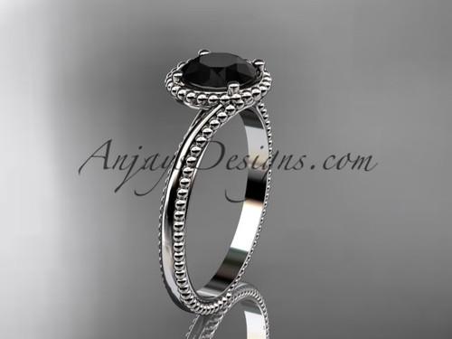 platinum  wedding ring, engagement ring with a Black Diamond center stone ADLR389