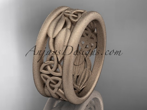 14kt rose gold celtic trinity knot matte finish wedding band, engagement ring CT7293GA