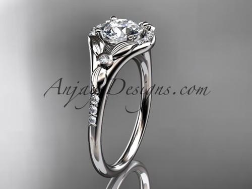 14kt white gold diamond floral wedding ring, engagement ring ADLR126