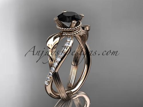 Black Diamond Rose Gold Flower Wedding Ring ADLR70