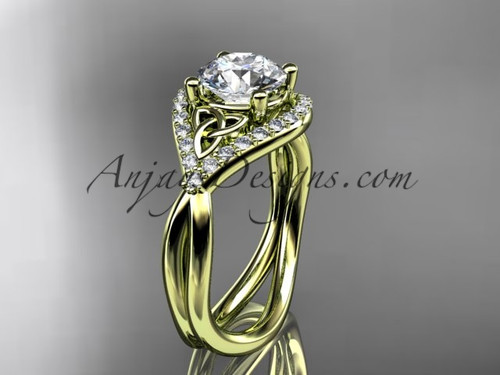 14kt yellow gold diamond celtic trinity knot wedding ring, engagement ring CT7390