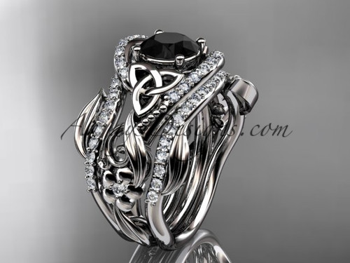 platinum diamond celtic trinity knot wedding ring, engagement ring with a Black Diamond center stone and double matching band CT7211S