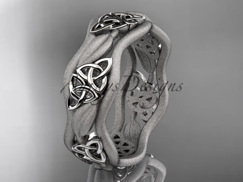 White Gold Celtic Wedding Rings, Unique Irish Ring CT7512GM