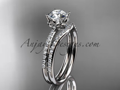 """14kt white gold diamond floral wedding ring, engagement set with a """"Forever One"""" Moissanite center stone ADLR92S"""