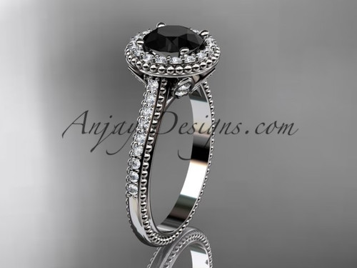 14kt white gold diamond floral wedding ring, engagement ring with a Black Diamond center stone ADLR101