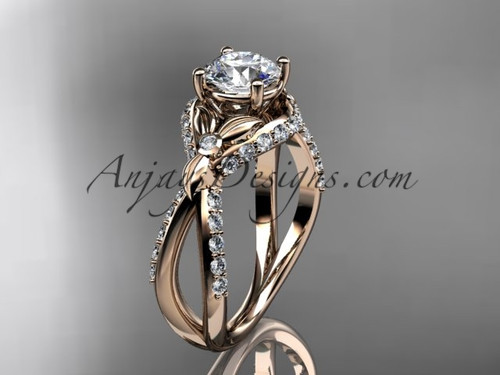 """Unique 14kt rose gold diamond flower, leaf and vine wedding ring, engagement ring with a """"Forever One"""" Moissanite center stone ADLR218"""