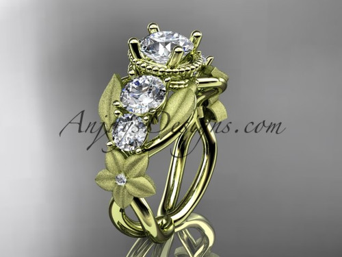 Yellow Gold Leaf and Vine Beautiful Engagement Ring ADLR69